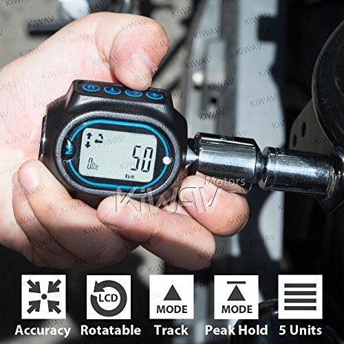 KiWAV Digital Torque Wrench Adapter 3-200Nm compatible with 12 38 14 Drive Socket Buzzer Alarm Audible Alert