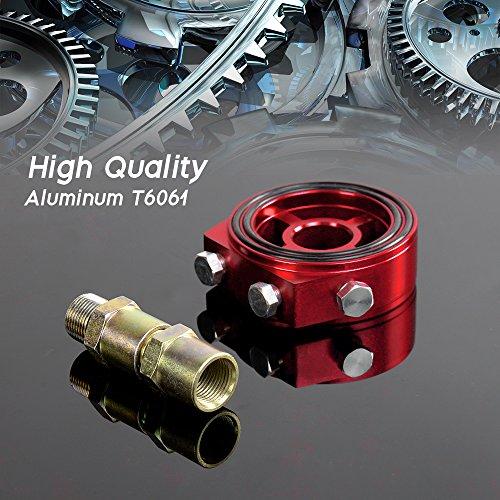 Universal M20 X 15 Racing Sport JDM Aluminum OilGauge Filter Sandwich Adapter Plate Kit Red color
