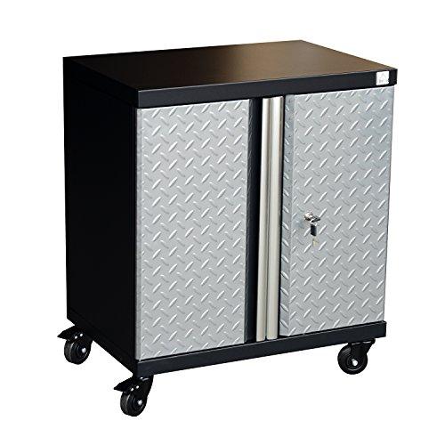 HomCom Metal Rolling Garage Organizer Tool Storage Cabinet - Silver  Black