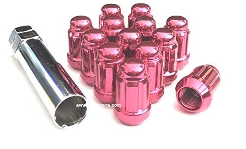 12x15 Spline Tuner Lug Nuts Wheel Locks 20 Lugs 1 Key Included 12mmx150 Thread Size Pink