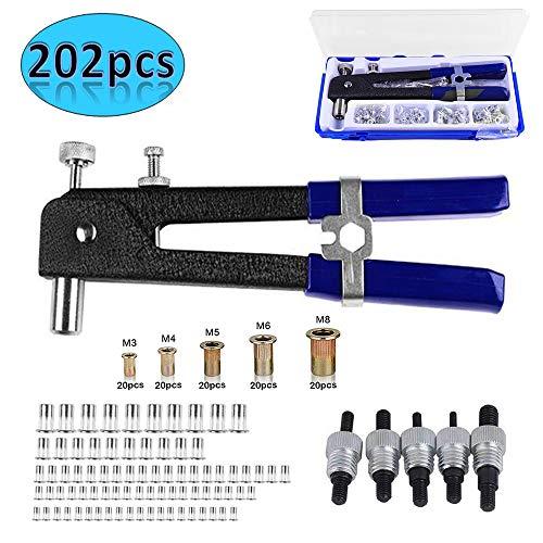 LEATBUY 202 PCS Rivet Nut Tool Kit Set Riveting Nuts Heavy Duty Hand Blind Riveter Kit Tools Wrench Threaded Insert Rivnut Included M3 M4 M5 M6 M8Durable Robust Steel Aluminum Rivets Tool 202 pcs