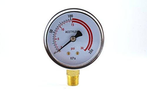 Low Pressure Gauge for Acetylene Regulator 0-30 psi - 25 inches
