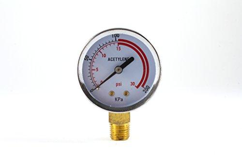Low Pressure Gauge for Acetylene Regulator 0-30 psi - 2 inches
