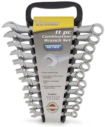 Titan Tools 17328 11-Piece Metric Raised Panel Combo Wrench Set