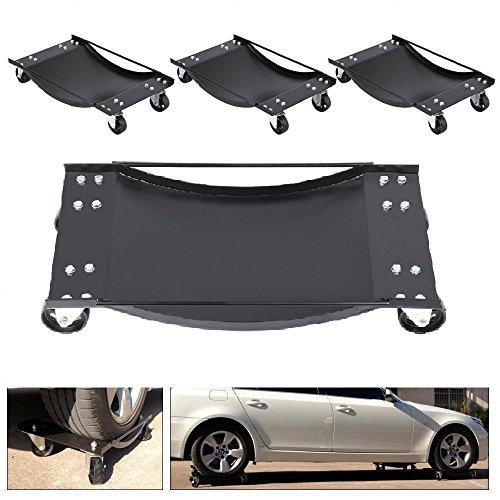 4 pcs Black 3 Tire Skates Wheel Car Dolly Ball Bearings Vehicle Car Auto Repair Moving Diamond