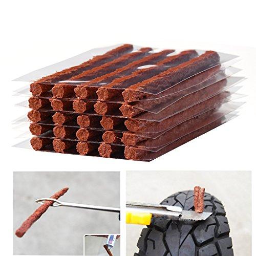 Firwood Flat Tire Plug Puncture Repair Strings Tyre Repair Rubber Sealing Strip 85 Extra Length for Off-Road Car Bike Motor ATV UTV SUV Wheelbarrow Mower 25PCS Flat Tire Plug String