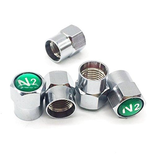 GODESON Chrome Plated Brass Tire Valve Stem Caps N2 Nitrogen Sign Logo on The Top 5 pcsSet Additional 1pcs Spare