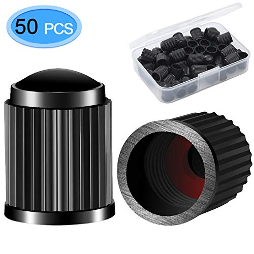MENOLY Tire Valve Caps Black 50 Pack Universal Stem Covers for Cars Bicycle SUVs Motorbike and Trucks Black