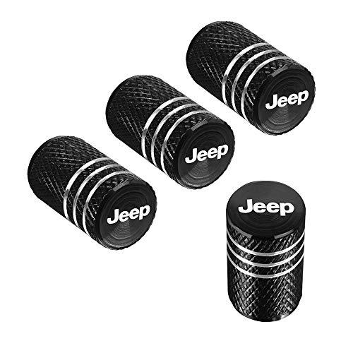 QINGTECH 4pcs for Jeep Valve Stem CapsTire Caps for CarMotorbikeTrucksBike and Bicycle Aluminum