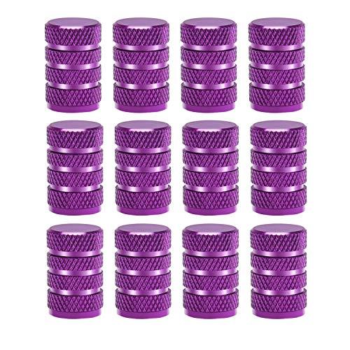 Sunmns 12 Pack Aluminium Tire Stem Valve Caps Air Cover for Car Motorcycle Bike Purple