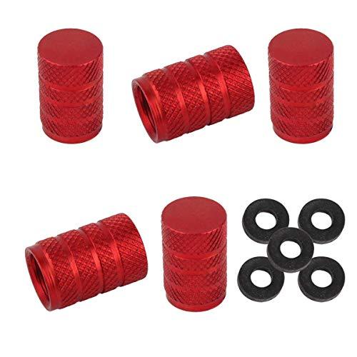 Winka Round Tire Stem Valve Caps Aluminium Car Dustproof Caps Tire Wheel Stem Air Valve Caps 5 Pieces Red