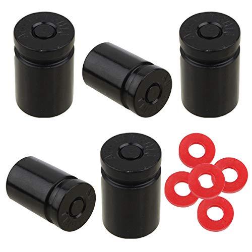 Winka Tire Stem Valve Caps Cover Bullet Aluminium Car Dustproof Caps Tire Wheel Stem Black