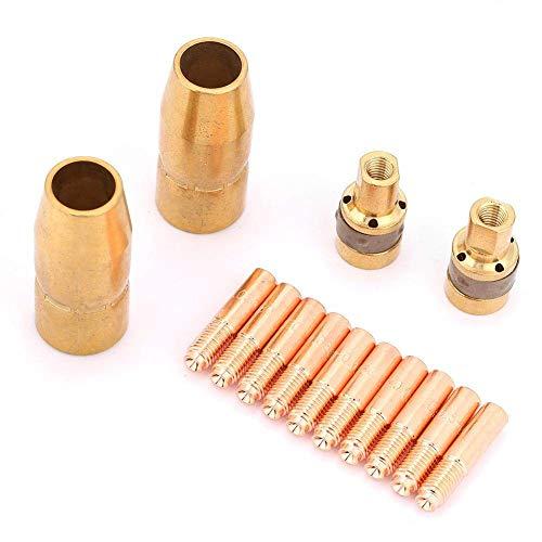 14Pcs MIG Welding Torch Kits 10Pcs x Contact Tip 000067 and 2Pcs x Adapter 169716 and 2Pcs x Nozzle 169715