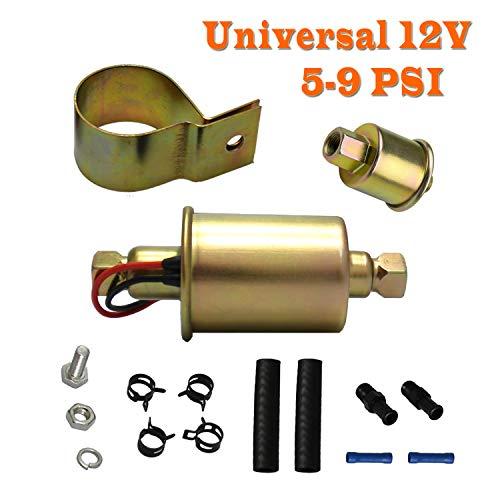 Electric Fuel Transfer Pump 12v - Universal for Carburetor External Inline Gas Diesel Gasoline Liquid Oil Can Truck Tank Low Pressure 5-9 Psi E8012S