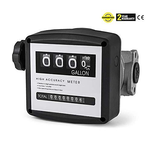 Tuntrol Mechanical Fuel Meter 7 to 20 GPM Aluminum Digital Diesel Fuel Flow Meter for All Fuel Transfer PumpsBlack4-Digital Batch Display