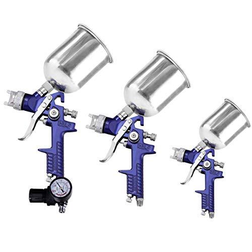 Goplus HVLP Spray Gun Set- 3 Sprayguns Professional Gravity Feed Paint Gun with Filter Net Pressure Gauge Convenient Case for All Auto Paint Basecoat Car Primer Clear Coat Air Spray Gun Kit