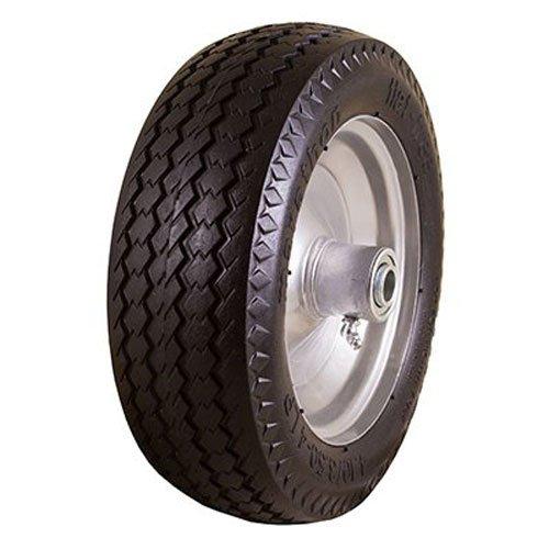 Marathon 410350-4 Flat Free Hand Truck Tire on Wheel 225 Offset Hub 58 Ball Bearings Sawtooth Tread
