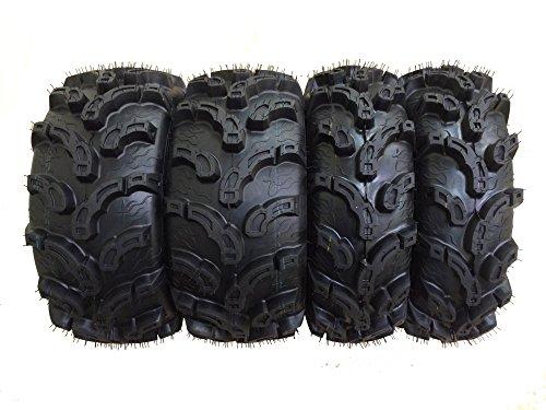 Set of 4 New Premium WANDA ATVUTV Tires 25x8-12 Front 25x11-10 Rear 6PR P375 Super Lug Mud