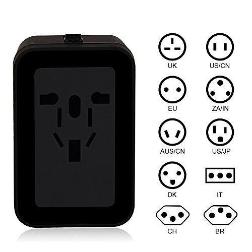 Travel Adapter TOPCHANCES Universal All in One Worldwide Power Converters Wall AC Power Plug Adapter Power Plug Wall Charger with Dual USB Charging Ports for USA EU UK AUS