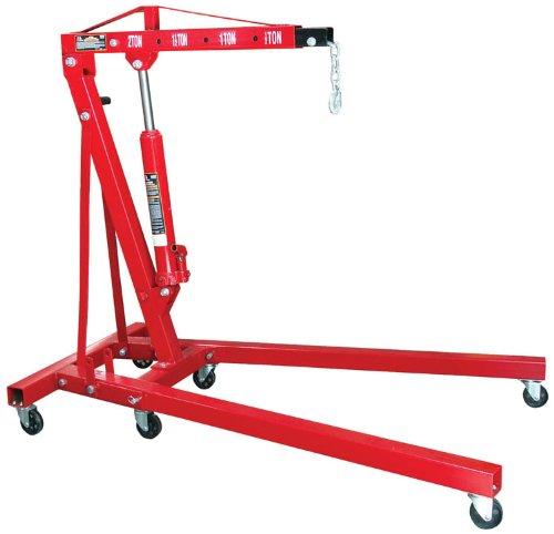 Torin Big Red Steel Engine Hoist  Shop Crane with Foldable Frame 2 Ton 4000 lb Capacity