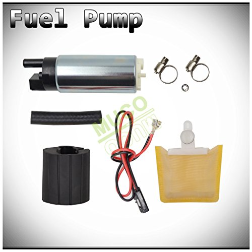 MUCO New 1pc Genuine 255LPH High Flow OE Upgrade Performance Electric Gas Intank EFI Fuel Pump With StrainerFilter  Rubber GasketHose  Stainless Steel Clamps  Universal Connector Wiring Harness