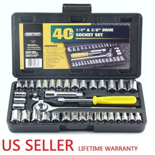 Set Mechanics Repair Tool Case Socket Ratchet 40Pcs Wrench Car Craftsman Home Garage