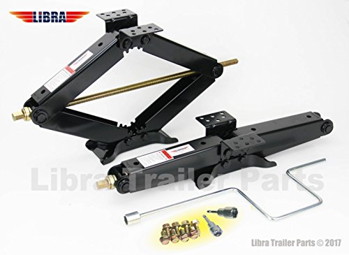 LIBRA Set of 2 True 7500 lb Heavy Duty 24 RV Trailer Stabilizer Leveling Scissor Jacks wHandle Dual Power Drill Sockets Hardware -Model 26037