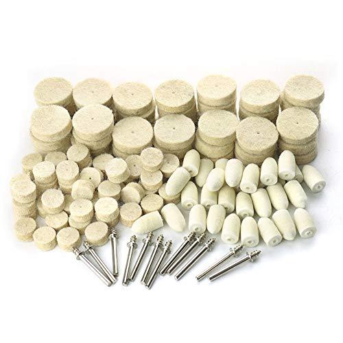 142Pcs Felt Polishing Wheels Polishing Bits Kit Soft Felt Polishing Pad Buffing Wheels Kit for Rotary Tool
