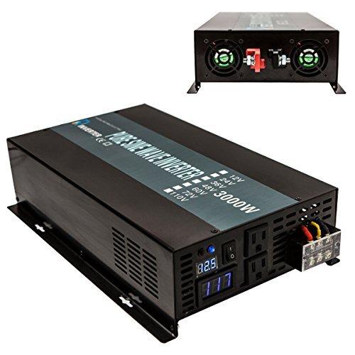 Reliable 3000W Solar Power Inverter Off Grid 24V DC Voltage Converter LED Display Pure Sine Wave Dual 120V AC Outlets