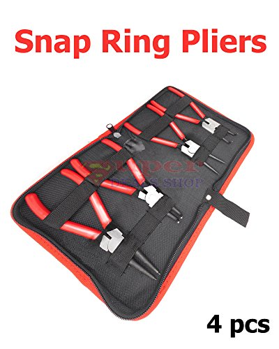 4 pcs Snap Ring Pliers Set Circlip Snap-Ring Pliers Set Snap Ring Plier for Removal of Retaining Clip Circlip Snap Rings Wrist Pin Clips E-Clips Internal External CirClips Remover Super-Deals-Shop