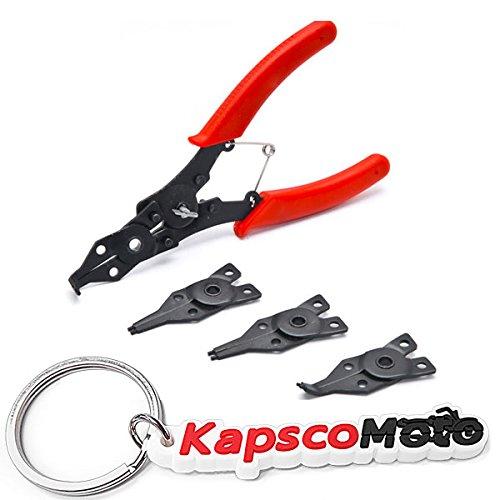 Biltek 4 in 1 Snap Ring Pliers Plier Set Circlip Combination Interchangeable Retaining Clip Tool Kits External  Internal Retaining Multiple Jaws  KapscoMoto Keychain