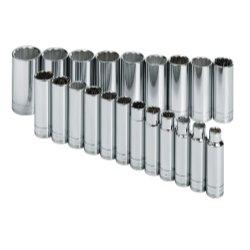 21 Piece 12 Drive 12 Point Metric Deep Socket Set Tools Equipment Hand Tools