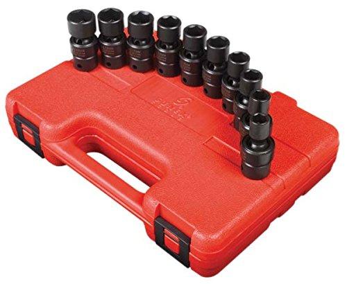 Sunex 3657 38-Inch Drive Universal Impact Socket Set Metric Standard 6-Point Cr-Mo 10mm - 19mm 10-Piece
