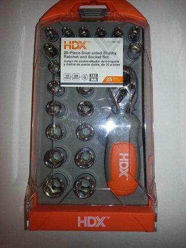 HDX 25-Piece Dual-Sided Stubby Ratchet Socket Set