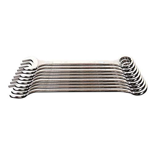 Supatool Jumbo Combination Wrench Set - Metric Mirror Polish Box Open End Spanner Set - 9 Piece