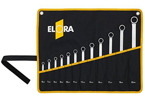 Elora 203501201005 Combination spanner set 8-22mm in Tetoron rolling pouch 12 Piece