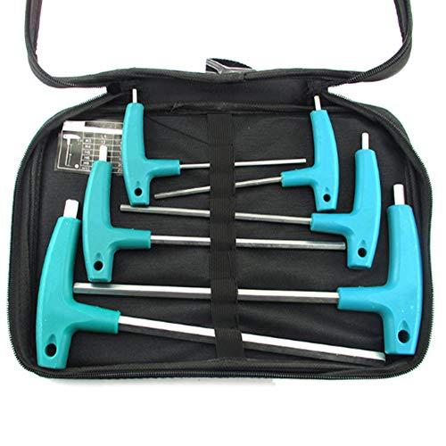 T-Handle Hex Key SetMetric T-Handle Hexagon Keys SetAllen Key L-Wrench Household Repair Hand Tools Kit with Storage Bag6 Piece