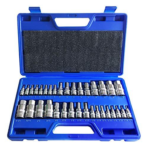 Master Hex Bit Socket Set Allen Wrench Bit Kit Hex Key for Ratchet Socket Tool SAE and Metric Set 38 14 12 Drive Socket Set 34-Piece