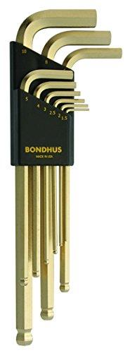 Bondhus 38099 GoldGuard Ballpoint L-Wrench Set - 9 Pc Metric