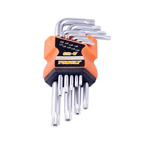 EDCarrying CR-V Torx Hex Key Wrench Spanner Set T10-T50 Torx Star Key Set L Shape Hand Repair Tools ShortMiddleLong Size Short