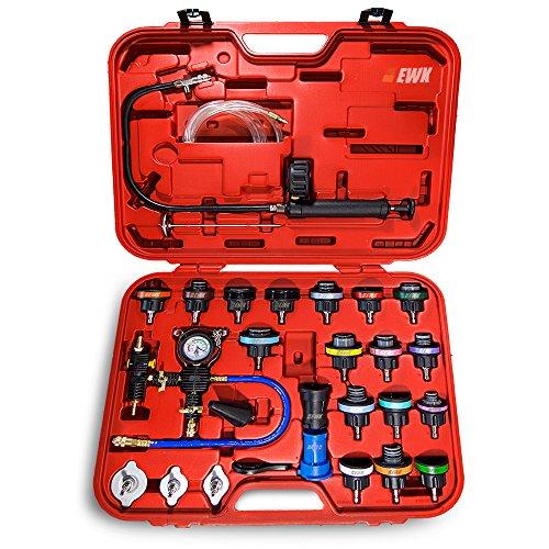 EWK Universal Radiator Pressure Tester Cap Adapter and Cooling System Coolant Refill Vacuum Bleeder Kit