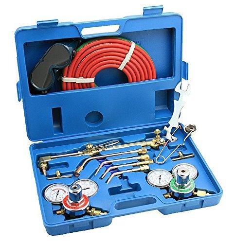 Gas Welding Cutting Kit Oxygen Torch Acetylene Regulator Welder wi Portable Case