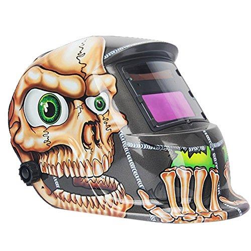 Evansafe Auto Darkening Welding Helmet Arc Tig Mig Mask Welder Mask Skull ADF 180 Degree Rotating Mask UV Protection 600 Jaw
