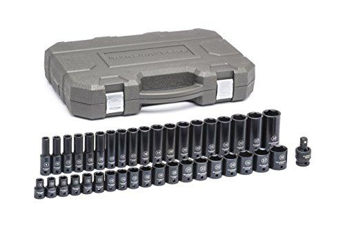 GearWrench 84948N 39 Pc 12 Drive 6 Point Standard Deep Impact Metric Socket Set Black