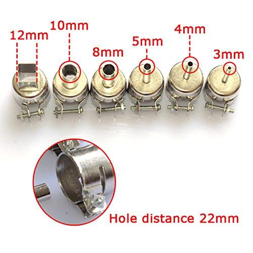 Aihome 6pcs Nozzles for Hot Air Gun Solder Soldering Iron Station Gj-8018lcd 858d 898d 852d 853d 2008d 8508d 992da 878ad