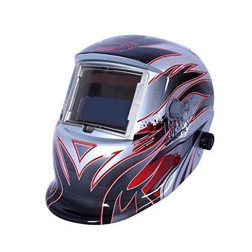 Sun YOBA Protection Auto Darkening Solar Welders Welding Helmet Mask Grinding Function Silver Fire