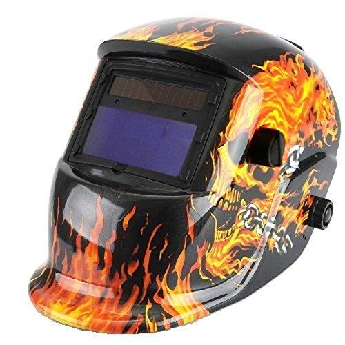 MUEQU Adjustable Welding Helmet Solar Power Auto Darkening Welding MaskWelding Helmet with Grinding Feature Extra lens covers Flame skeleton