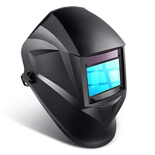 Auto Darkening Welding Helmet 1111 Solar Powered Welding Hood with Large View Area 394x256 Professional Grinding Welder Mask with 4 Arc Sensor Wide Shade Range 34-13 for TIG MIG MMA Plasma