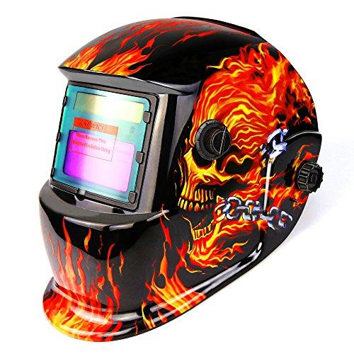 DEKOPRO Welding Helmet Solar Powered Auto Darkening Hood with Adjustable Shade Range 49-13 for Mig Tig Arc Welder Mask Shield Flaming Skull Design
