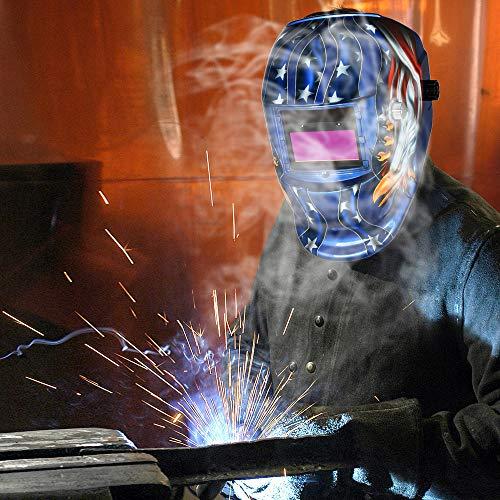 Elalma Solar Powered Welding Helmet Auto Darkening Hood With Baffles For Mig Tig Welding Helmet